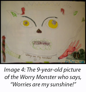 "image 4 - the 9-year-old picture of the worry monster who says ""worries are my sunshine"""