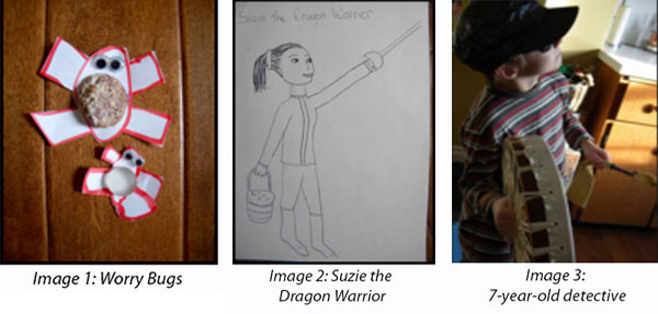 image 1 - worry bugs, image 2 - suzie the dragon warrior, image 3 - 7-year-old detective